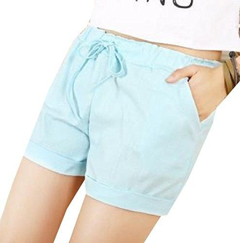 white short t-shirt with sky blue shorts with elastic waist and mini cuffs
