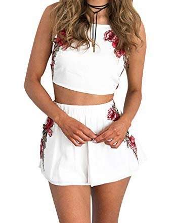 white crop top with matching flowing mini shorts with floral pattern