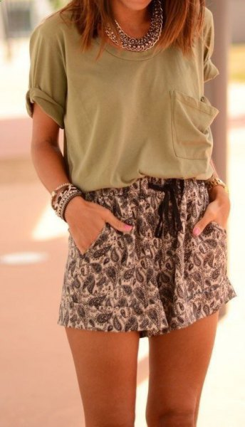 gray front pocket t-shirt with tribal printed mini shorts with elastic waist