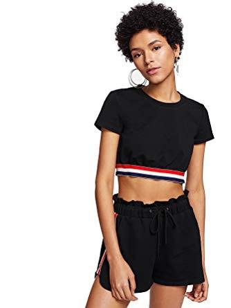 black short t-shirt with matching mini cotton shorts