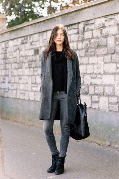 gray long wool coat with black sweater and leather ankle boots