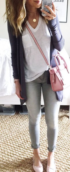 white oversized t-shirt with v-neck and gray longline cardigan