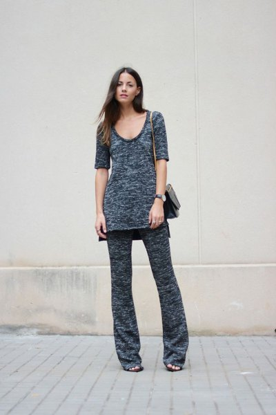 gray knitted tunic top with scoop neck and matching trousers with wide legs
