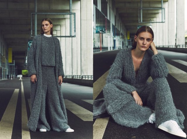 gray, ribbed maxi cardigan with matching top and pants