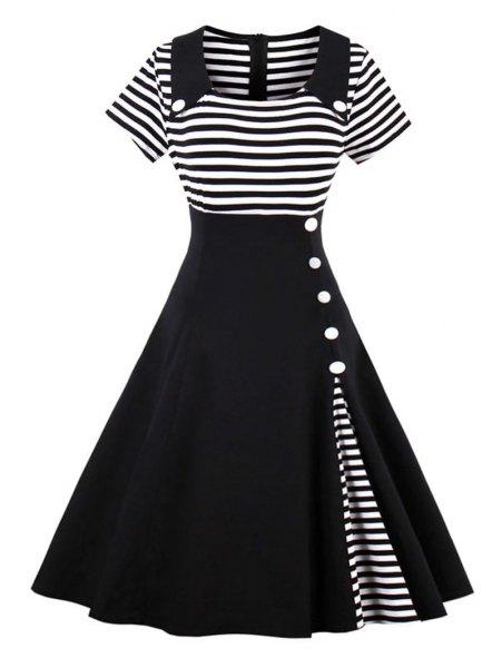 black and white striped, two-tone, flared midi dress