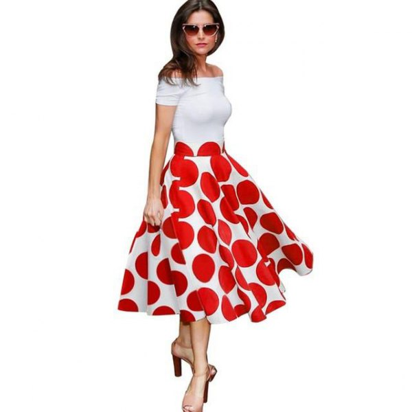white off shoulder midi dress with red polka dot pattern