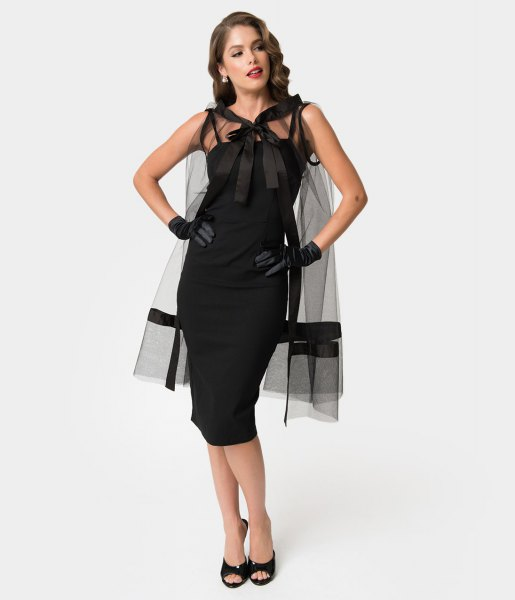 black midi bodycon pin up dress with transparent overlay