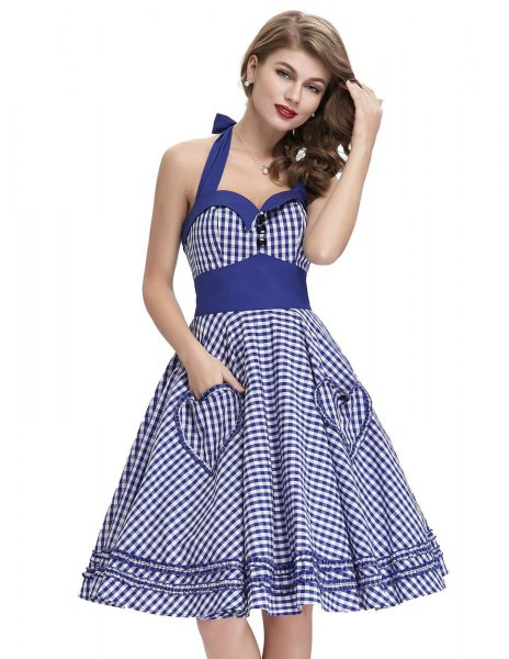 blue and white halter fit and flared dress with a sweetheart neckline