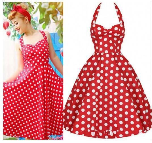 red and white polka dot and flare pin-up dress
