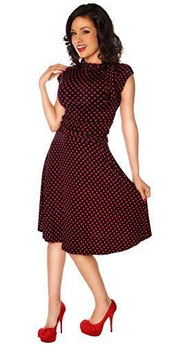black and gray polka dot flare midi dress