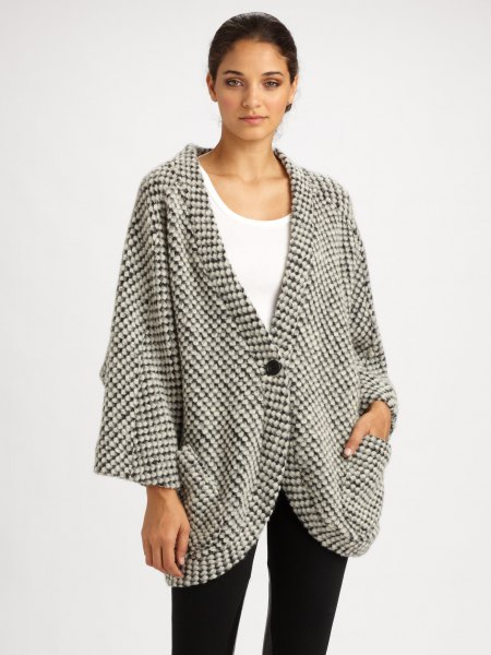 gray and white checkered, oversized cardigan with tank top