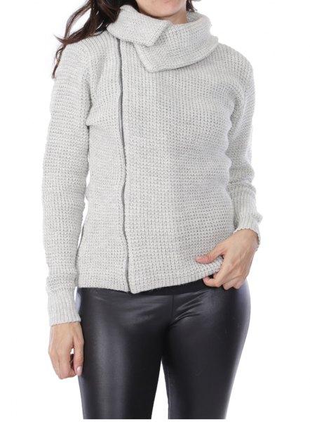 gray asymmetrical cardigan with black leather leggings