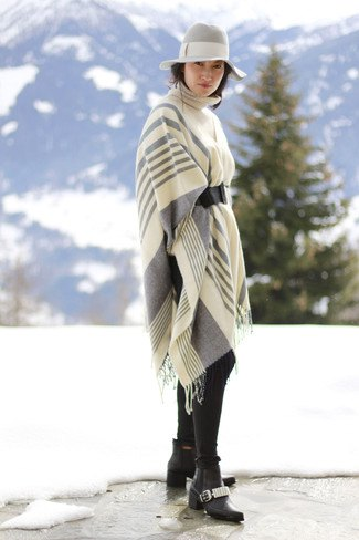 white-gray striped knitted scarf with floppy hat
