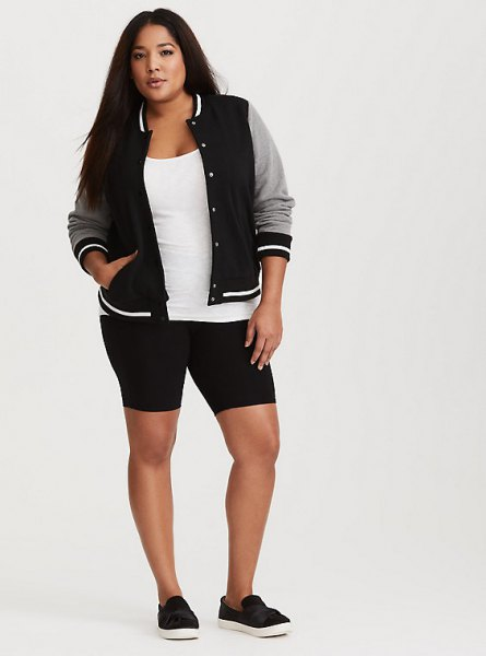 black and gray baseball jacket with knitted shorts