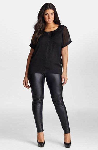 black t-shirt with chiffon scoop neck and leather leggings