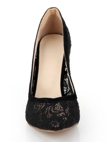 Mini cotton shift dress with black lace ballerinas