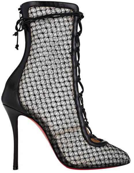 black high-heeled lace ankle boots with leather dress
