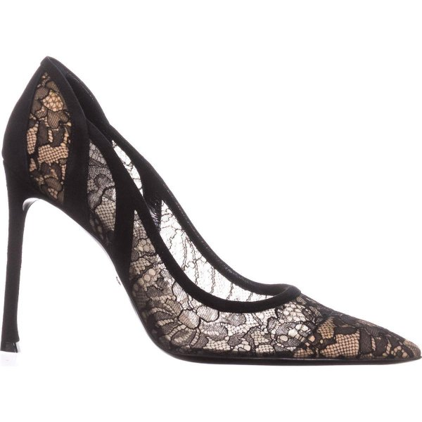 pointed, flower-embroidered lace heels with black maxi dress