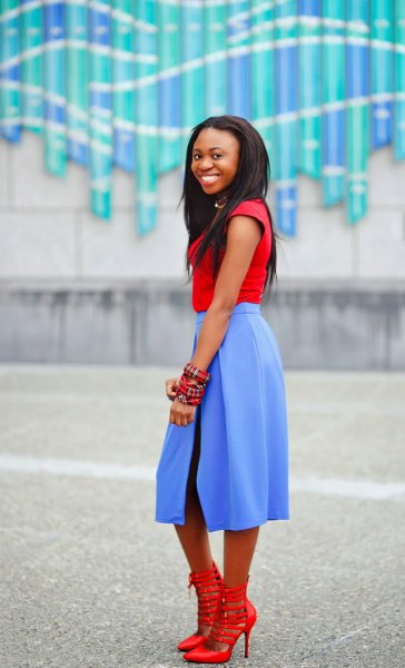 red t-shirt with cap sleeves and sky blue midi dress