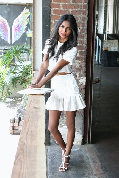 white two-piece, short-sleeved mini dress with lace-up sandals