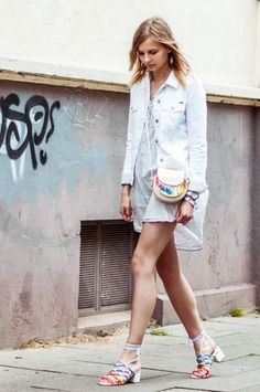 Light blue denim jacket with gray mini chiffon dress