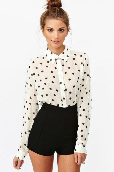 white and black polka dot shirt with high mini shorts