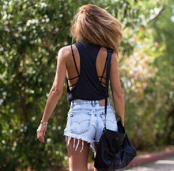 black cut out tank top with vintage mini blue denim shorts