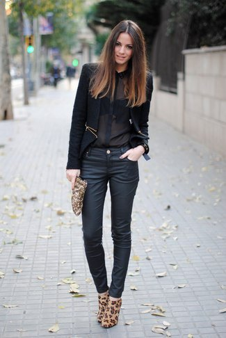 Chiffon shirt with black blazer and dark blue coated skinny jeans
