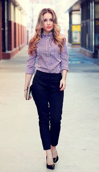 black and white checkered formal shirt with dress pants