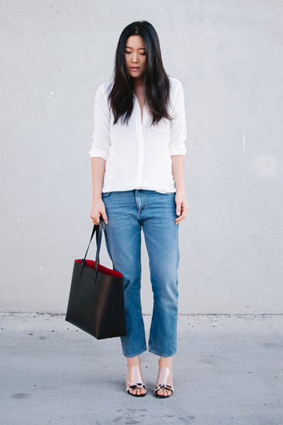 white shirt with buttons, cropped jeans and pink leather sandals with open toes
