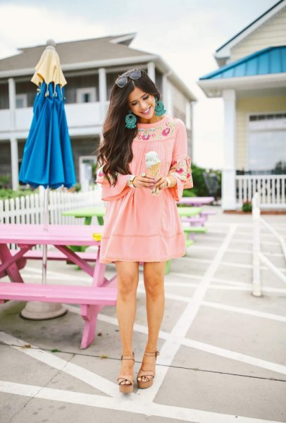 pink tribal printed mini dress in boho style and wedge sandals