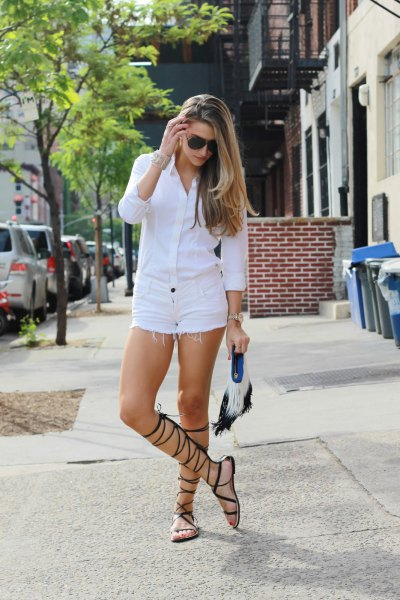 white shirt with buttons and matching denim shorts