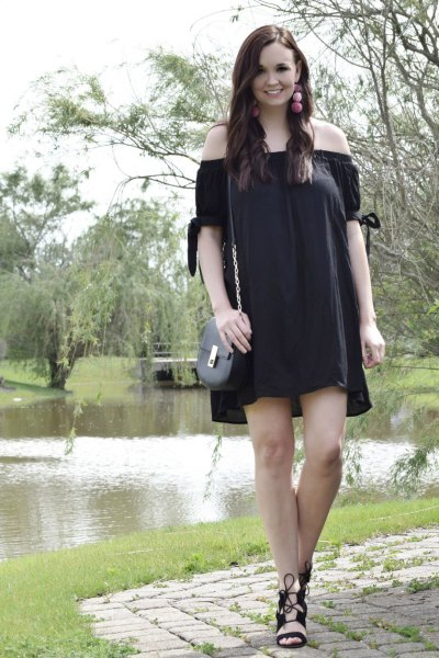 strapless mini dress with black lace-up sandals