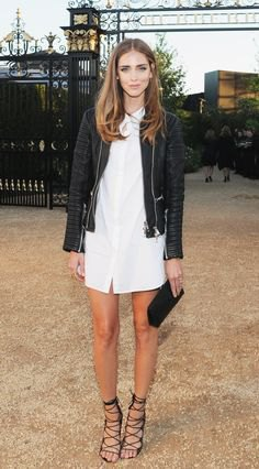 black leather jacket with white shirt dress and lace-up sandals