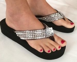 black-silver sequin wedge flip-flops with mini shift dress