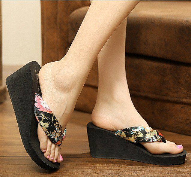 black and blush pink floral printed flip-flops with heels and mini dress
