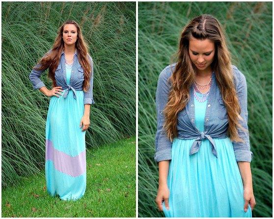 blue chambray shirt with maxi chiffon dress