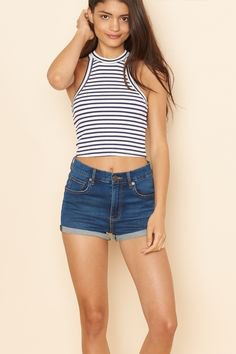 dark blue and white striped halter top and blue shorts