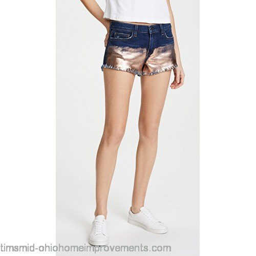 white t-shirt with mini stretch shorts made of blue and silver denim