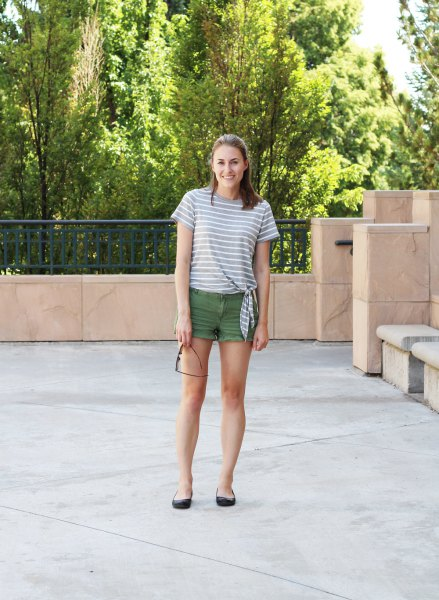 gray and white striped t-shirt with jeans mini shorts