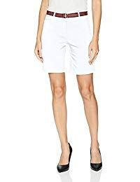 white tank top with knee length chino shorts with belt