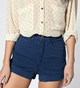 Blush pink polka dot shirt with navy stretch shorts