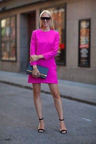 Pink long sleeve mini dress with dark blue sandals
