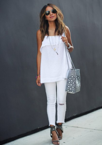 white chiffon top with spaghetti straps, jeans and black summer sandals with heels
