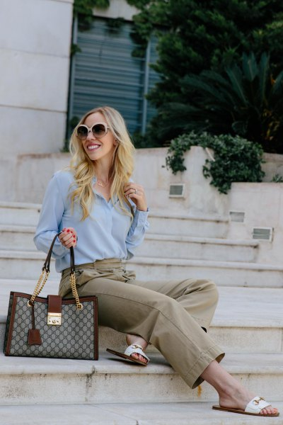 sky blue chiffon blouse with gray chinos and white sandals