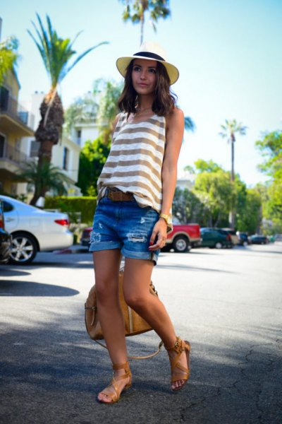 gray and white striped tank top with blue denim shorts