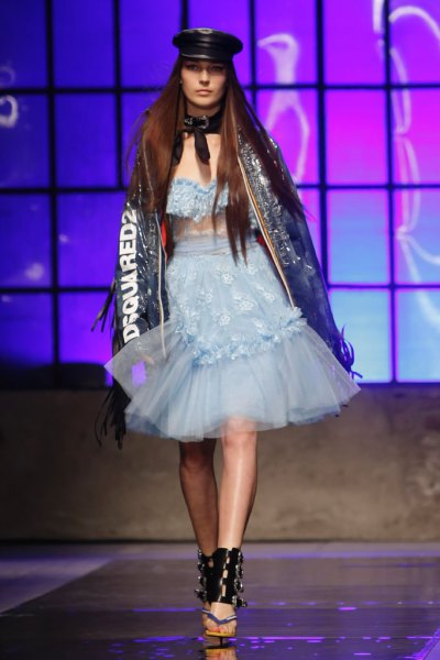Sequin leather jacket with sky blue tulle dress
