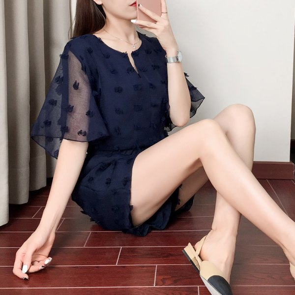 Navy chiffon semi sheer top with matching blue shorts