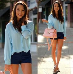 Light blue shirt with buttons and dark blue mini dress shorts