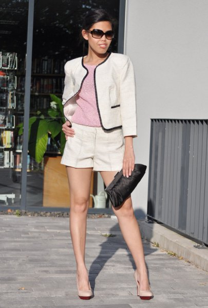white short blazer with gray sweater and mini dress shorts